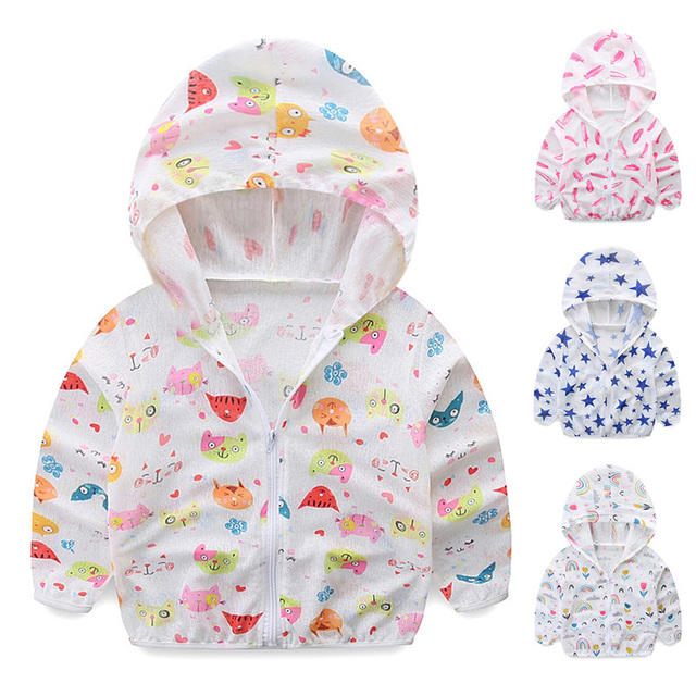 Kids Sun Protection Clothing Coat Unisex Cute Cartoon Print UV Protection Quick Dry Thin Jacket with Hooded Zipper Kids Coat