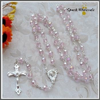 afef451bb6bb Regalos religiosos de Pink Crystal collar del Rosario Jesús Cruz colgante  cristal facetado Rosario Católico Rosario
