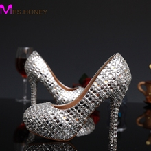 2016 New Fashion Silver Woman Platform Shoes Crystal High Heels Shoes Crystal Rhinestone Round Toe Lady's Party Proms