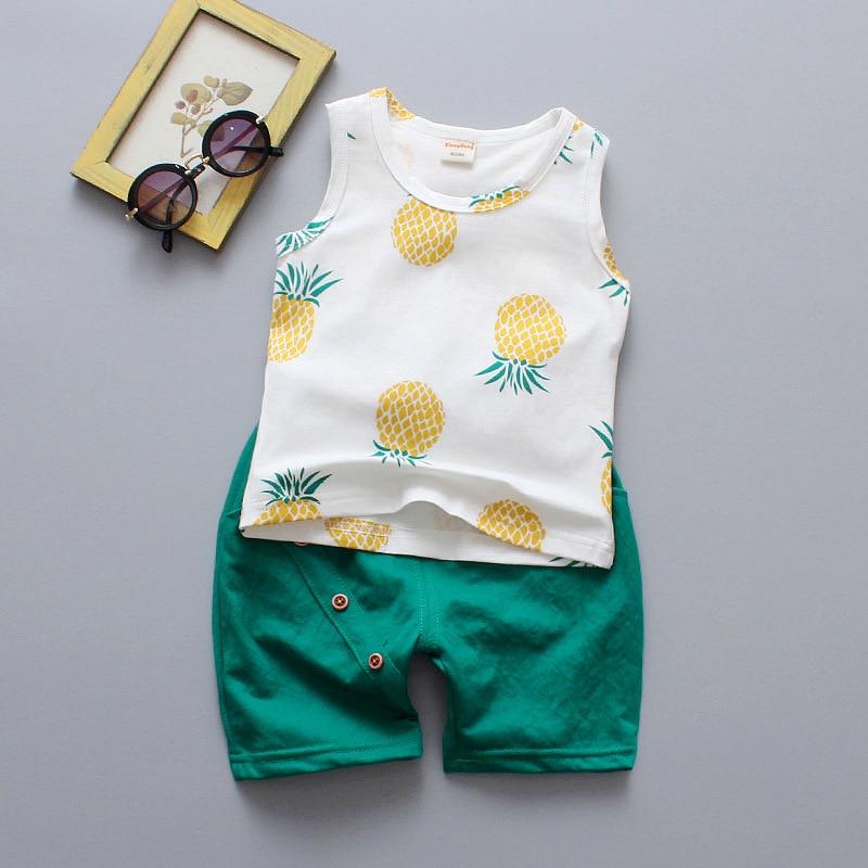 2019 Boy Clothes Set Summer Sleeveless O-Neck Pineapple Button Cotton Vest+Shorts 2PCS Newborn Clothes Toddler Boy Tracksuit Set