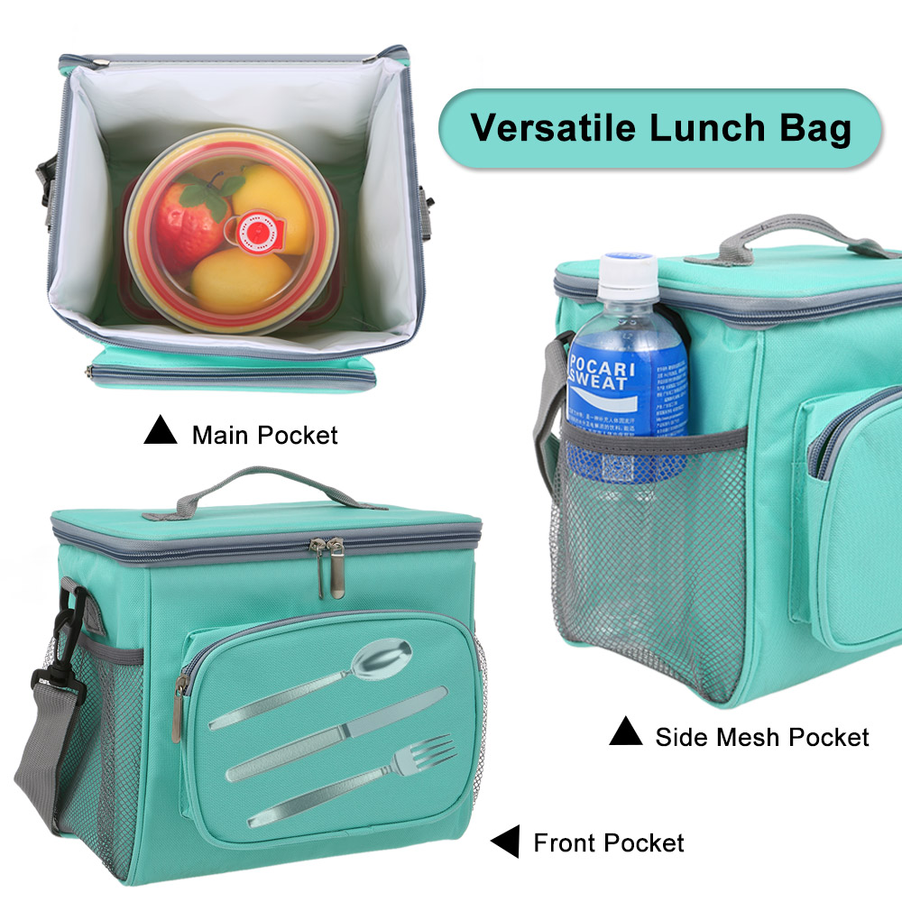 Image 3 - Insulated Lunch Bag Tote Box Picnic Tote with Adjustable Shoulder Strap Leakproof & Fashionable Cooler Tote Bag for Adult & Kids-in Storage Bags from Home & Garden