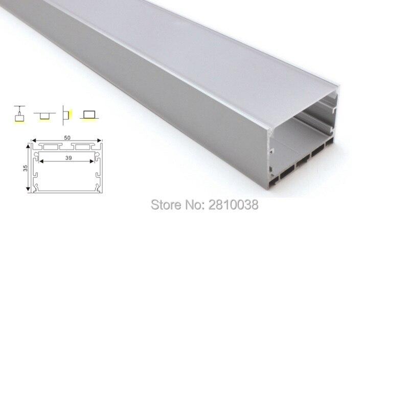 100X2 m Ensembles/Lot linéaire lumière led en aluminium canal Grande forme carrée en aluminium led profils d'extrusion pour suspension lampes