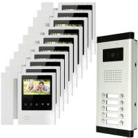 10 units apartment door intercom system video doorbell phone with 700TV Line camera