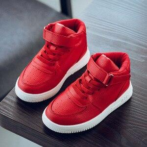 Image 4 - 2019 crianças casuais sapatos menina tênis de couro alta ajuda à prova dwaterproof água preto vermelho crianças botas meninas sapatos