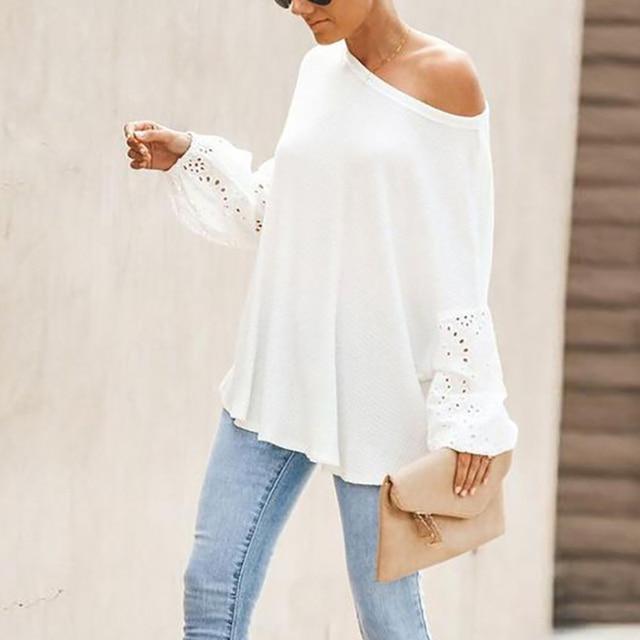 Elegant Solid Floral Hollow Out Blouse Shirt Women Lantern Sleeve White Tops Spring Blouse Casual Loose Blusas feminin Plus Size 5