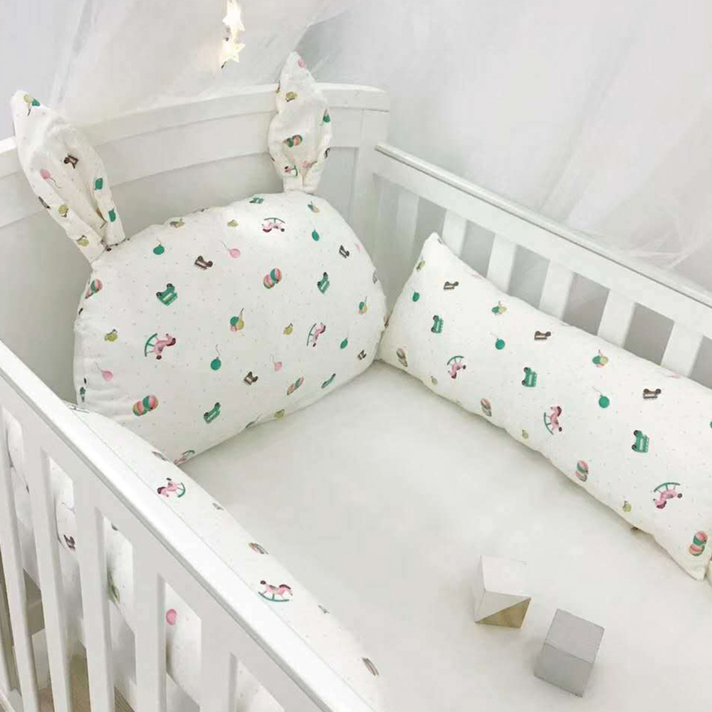 Baby Bed Bumper Ins Cot Bumper Baby Crib Protector Infant Cushion Pillow Rabbit Ear Shaped Print Crib Bumper For Baby Newborn Baby Bedding Back To Search Resultsmother & Kids