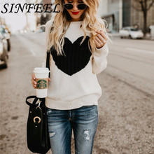 SINFEEL Fashion Print Winter Sweaters Women Long Sleeve Jumper Christmas Sweater and Pullover Knitted Female Pull Femme