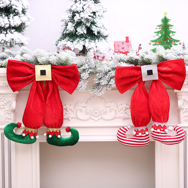 Christmas Tree Top Decoration Plush Elf Boots with Bow-knot Hanging Ornaments for New Year Party Scenes Arrangement AF010
