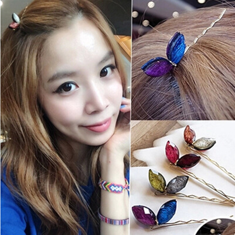 4pcs Colour rabbit ear Lovely Multicolor Rhinestones Leaf Hair Clips Hairpins Accessories Ornaments for Women Girls