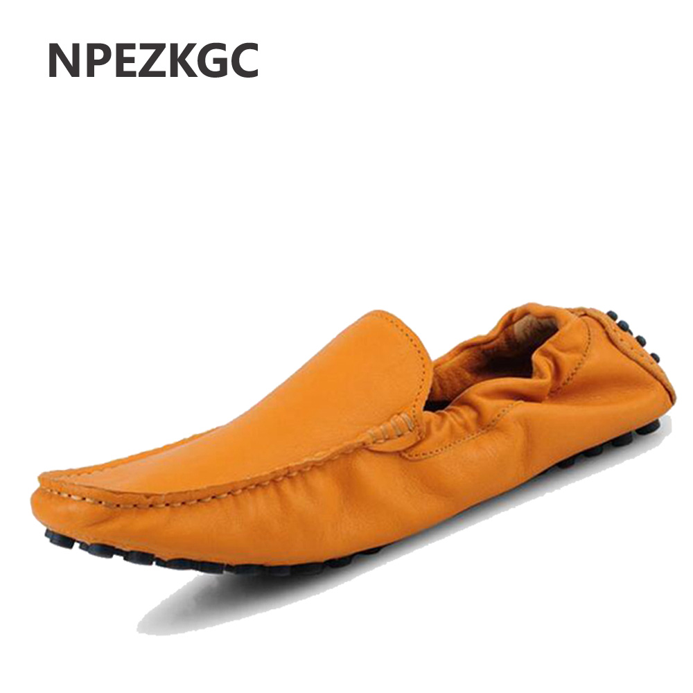 NPEZKGC Casual Men Shoes Loafers High Quality Genuine Leather Fashion Breathable Male Slip On Light Shoes Men Flats Soft Shoes