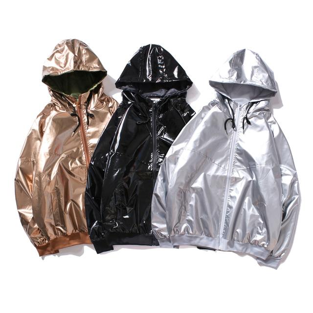 REPPUNK New jacket men women windbreaker hooded hip-hop streetwear night shiny coats male 4 colors simple personality top