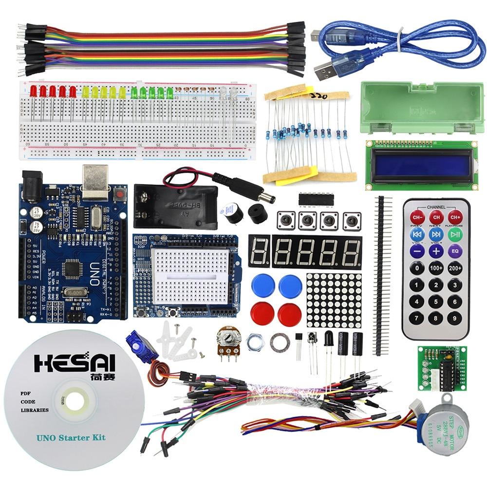 Smart Electronics Starter Kit UNO R3 / Step Motor /Servo/ 1602 LCD/ Breadboard/ Jumper Wire for Diy KitSmart Electronics Starter Kit UNO R3 / Step Motor /Servo/ 1602 LCD/ Breadboard/ Jumper Wire for Diy Kit