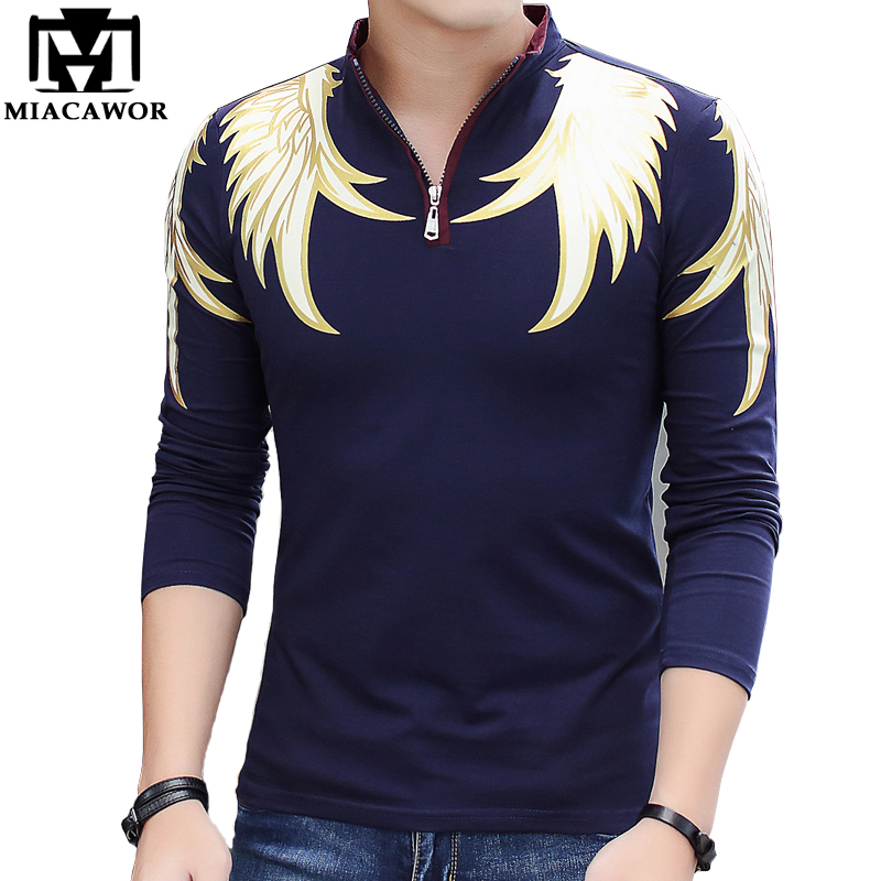 New 2019 Fashion Men   Polo   Shirts Cotton Slim Fit Camisa   Polo   Print Casual Shirts Long-Sleeves Camisetas Brand Clothing MT551
