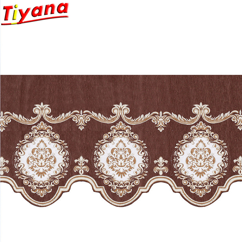 1pc Coffee Roman Valance Curtain Chenille Window Valance European Curtain Swags Decorative Jacquard Drape 1 Piece DL034 *30