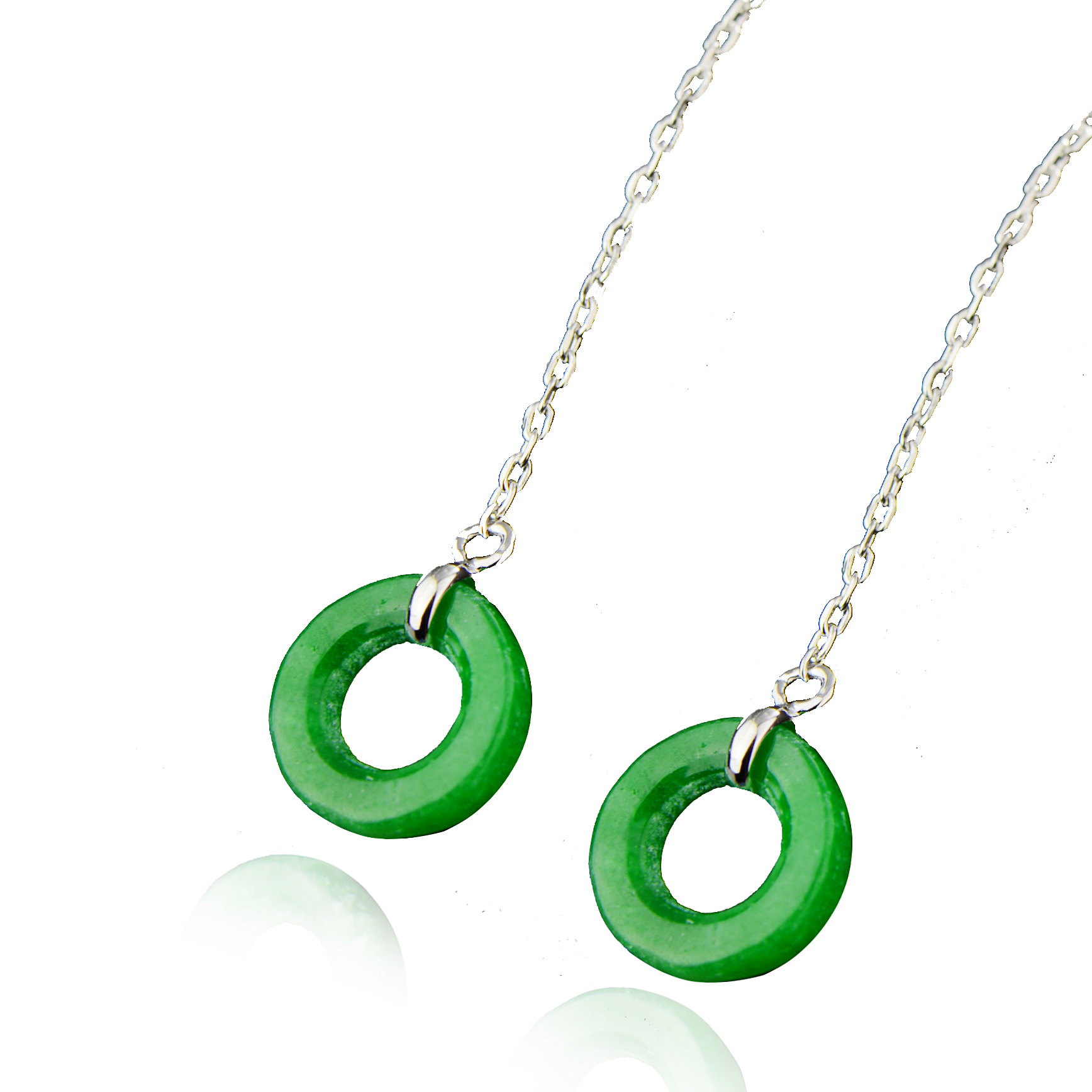 Bay 925 pure silver long TASSEL EAR thread simple circle ear Earrings temperament jade jade earrings accessories
