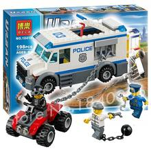 198pcs 2016 BELA New 10418 City Police Prisoner Transporter crook jail hatch building handcuffs Toys Compatible with Lego