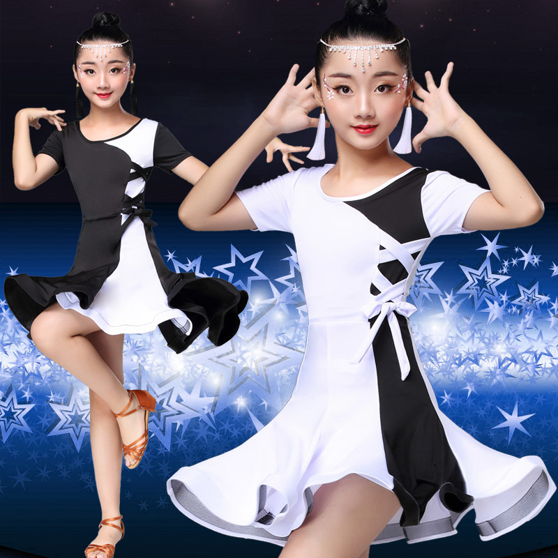 2019bow Middle Sleeve Children Rumba/samba/tango Standard Girls Black/white Skirt Latin Dresses For Dancing Ballroom Dance Dress