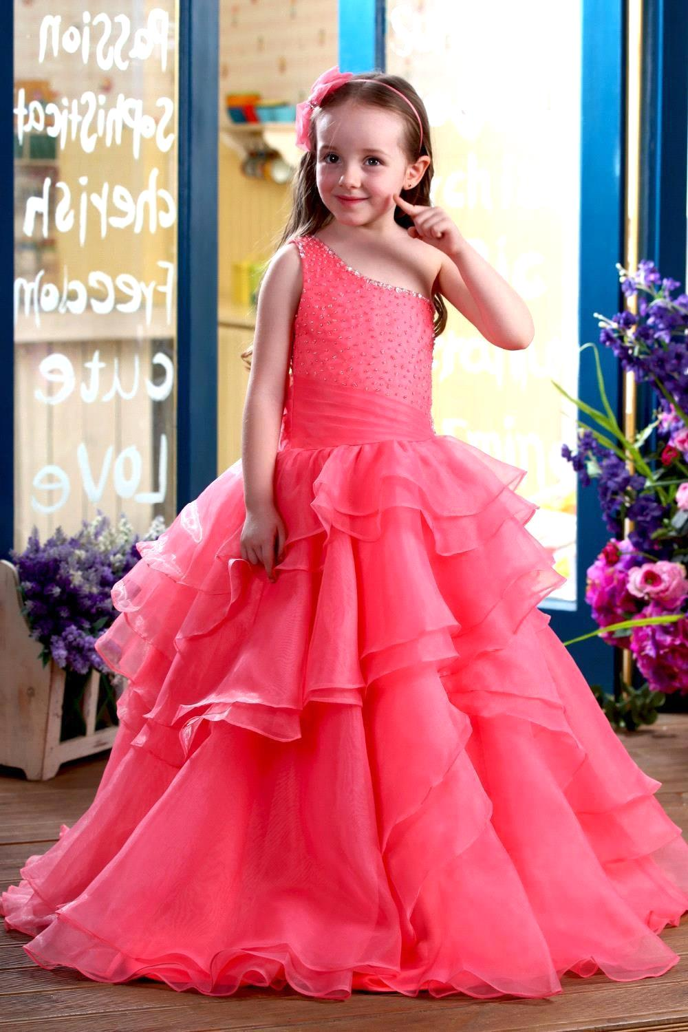 2019 New Arrival Gorgeous Christmas   Dress   Ball Gown   Girls   Pearls   Flower     Girl     Dress   Prom Pageant   Dresses