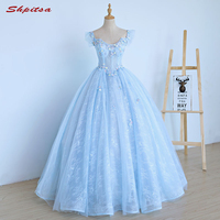 2018 Ball Gown Lace Quinceanera Dresses 15 Sweet 16 Puffy Sky Blue Quinceanera Gown Prom Dresses for 15 Years