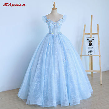 ac6b6119cd 2018 Ball Gown Lace Quinceanera Dresses 15 Sweet 16 Puffy Sky Blue  Quinceanera