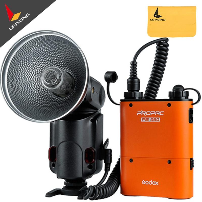Godox Witstro AD180 AD-180 protable Flash Outdoor Speedlite PB960 Battery Power Pack Kit Orange For DSLR