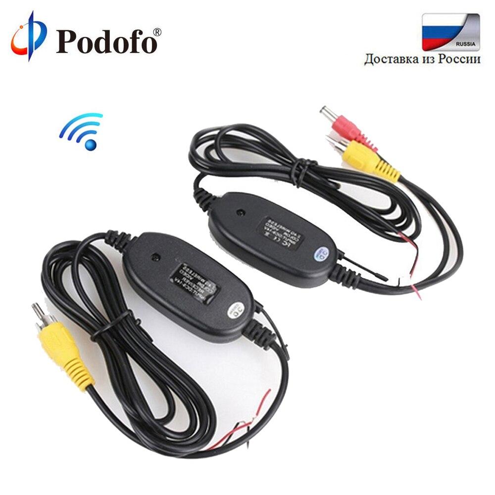 Podofo 2,4 GHz inalámbrico cámara de visión trasera RCA Video transmisor y receptor Kit para coche Monitor retrovisor reverso cámara de respaldo