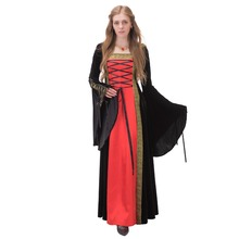 ROCOCO Ball Gown Gothic Medieval Victorian Black And Red Long Sleeve Dress Custom Made J90