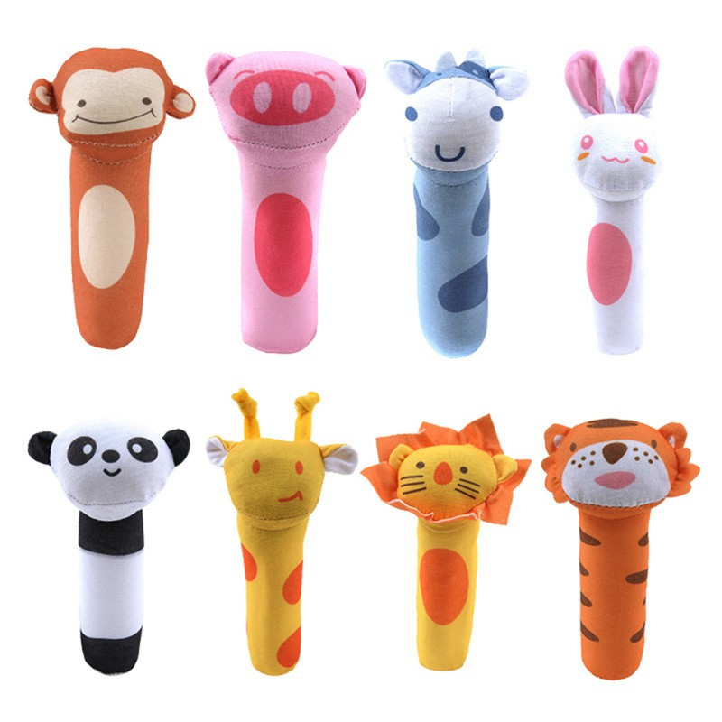 2018 Cute Baby Animal Pattern Cartoon Hand Bell Ring Rattles Kid Plush Soft Toy High Quality
