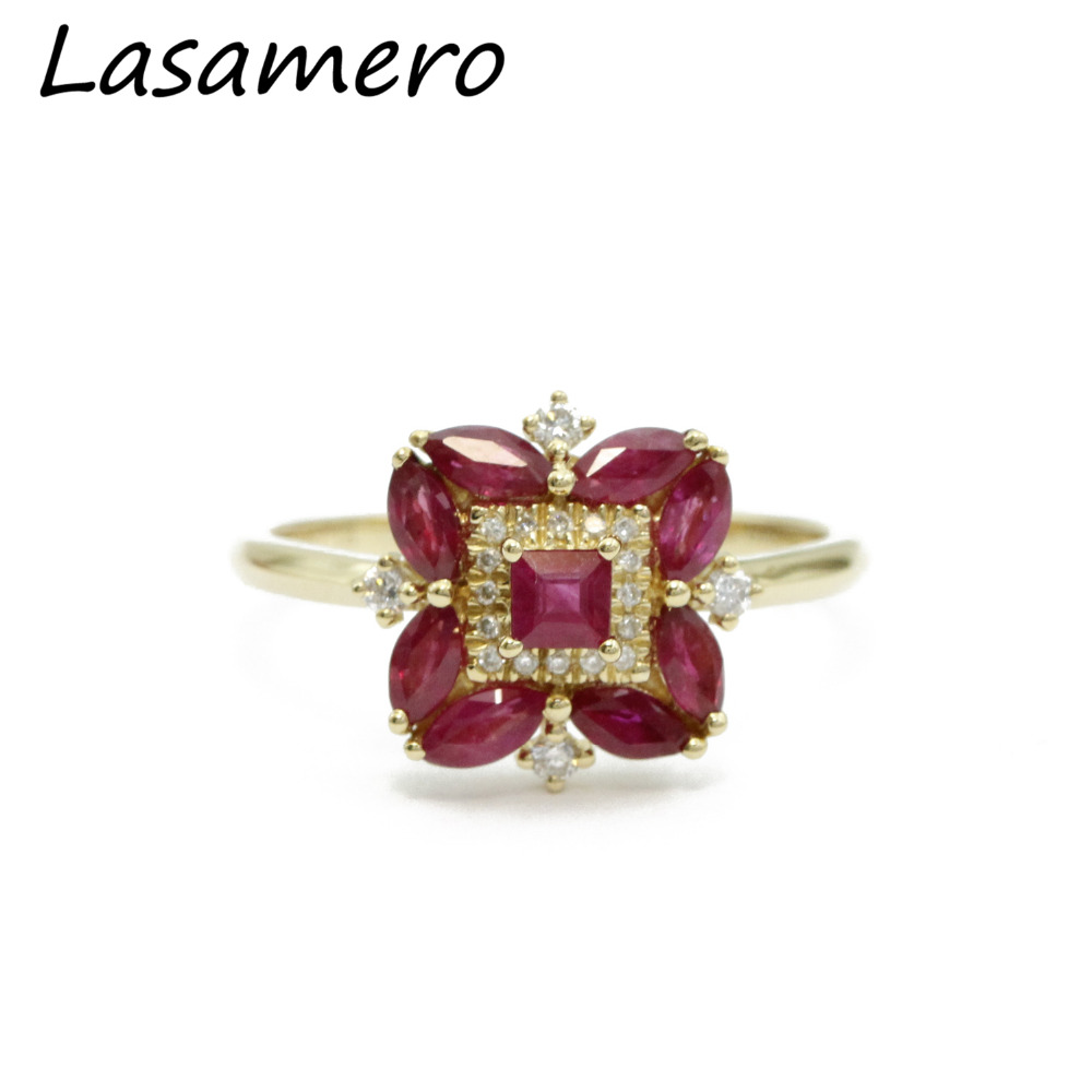 LASAMERO Emerald Cut 1.13ctw Natural Ruby Gemstone Marquise Side Stone Floral Style 18k Rose Gold Halo Diamond Engagement Ring