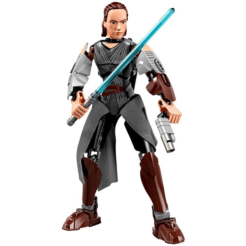 Звездные войны сборная фигура строительный блок Штурмовик Дарт Вейдер Kylo Ren Chewbacca Boba Jango Фетт фигурка игрушка для детей - Цвет: Rey II