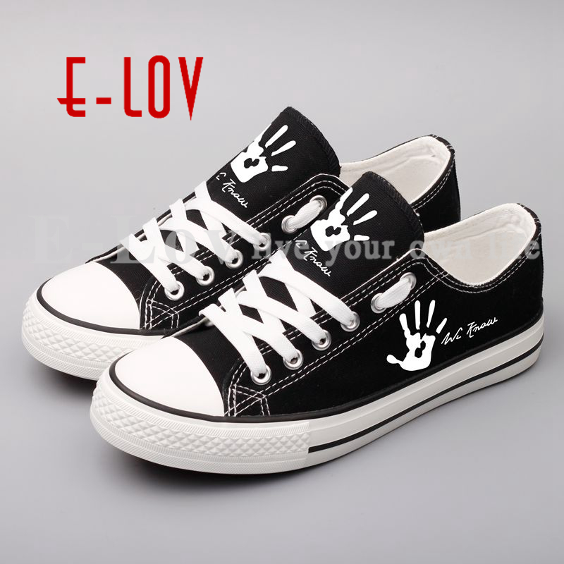 New Arrival Custom Printed Canvas Women Shoes Spring Autumn Women's Flats Unisex Lace-Up Casual Shoes Hip Hop Shoe