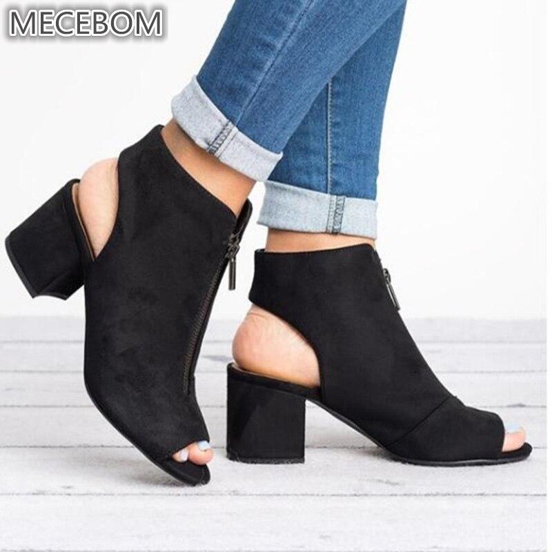 Spring Woman Sandals ladies Shoes Gladiator Casual Peep Toe Antiskid Bottom Zipper Med Thick Heels Wedding Sandalias Mujer 6299W 3