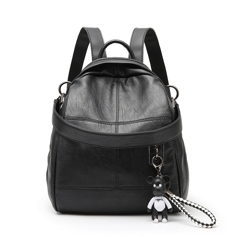 PU Leather Women Backpack Small Portable School Bag For Teenager Girls Solid Cute Shoulder Bag