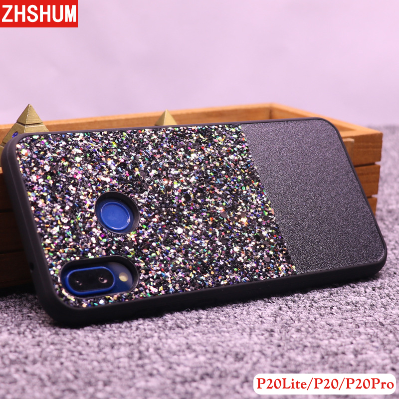Cute Glitter Case for Huawei P20 Lite Pro Soft Pu Leather Sequins Phone Case 360 Full Back Cover for Huawei P20 Lite P 20 Plus