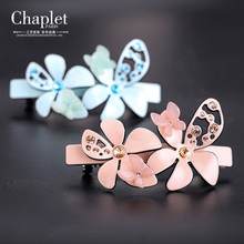 Chaplet 2016 New High Quality Romantic Women Hair Accessories Barrettes Rhinestone Flower Hollow Spring Hair Clips Free Shipping