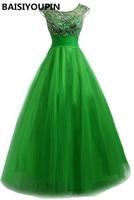 Backless Evening Dress Dài 2016 Robe Courte Ceremonie Đính Cườm Emerald Đảng Xanh Dresses với Thạch