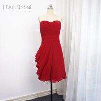 Knee Length Bridesmaid Dress Sweetheart A Line Chiffon Pleated Empire Wedding Formal Dress Custom Make Bride