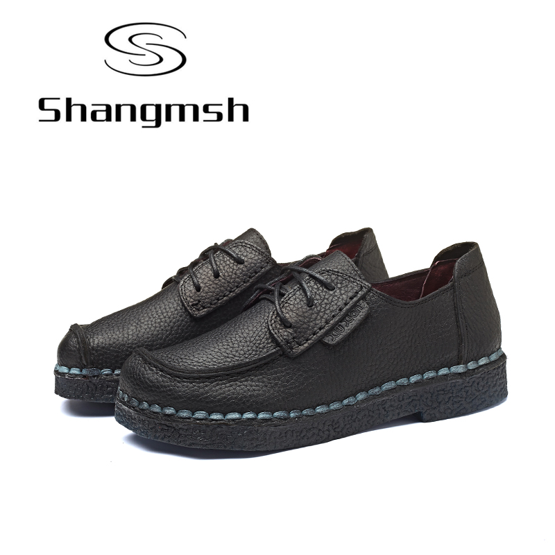 Shangmsh Fashion Brand Shoes Flat Shoes Genuine Leather Retro Handmade Casual Shoes Women Soild Lace-up Loafers Flats Plus size ege brand handmade genuine leather spring shoes lace up breathable men casual shoes new fashion designer red flat male shoes