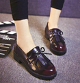 2017 New Hot Sale retro tassel women leather shoes Round head comfortable woman oxfords women flats casual shoes