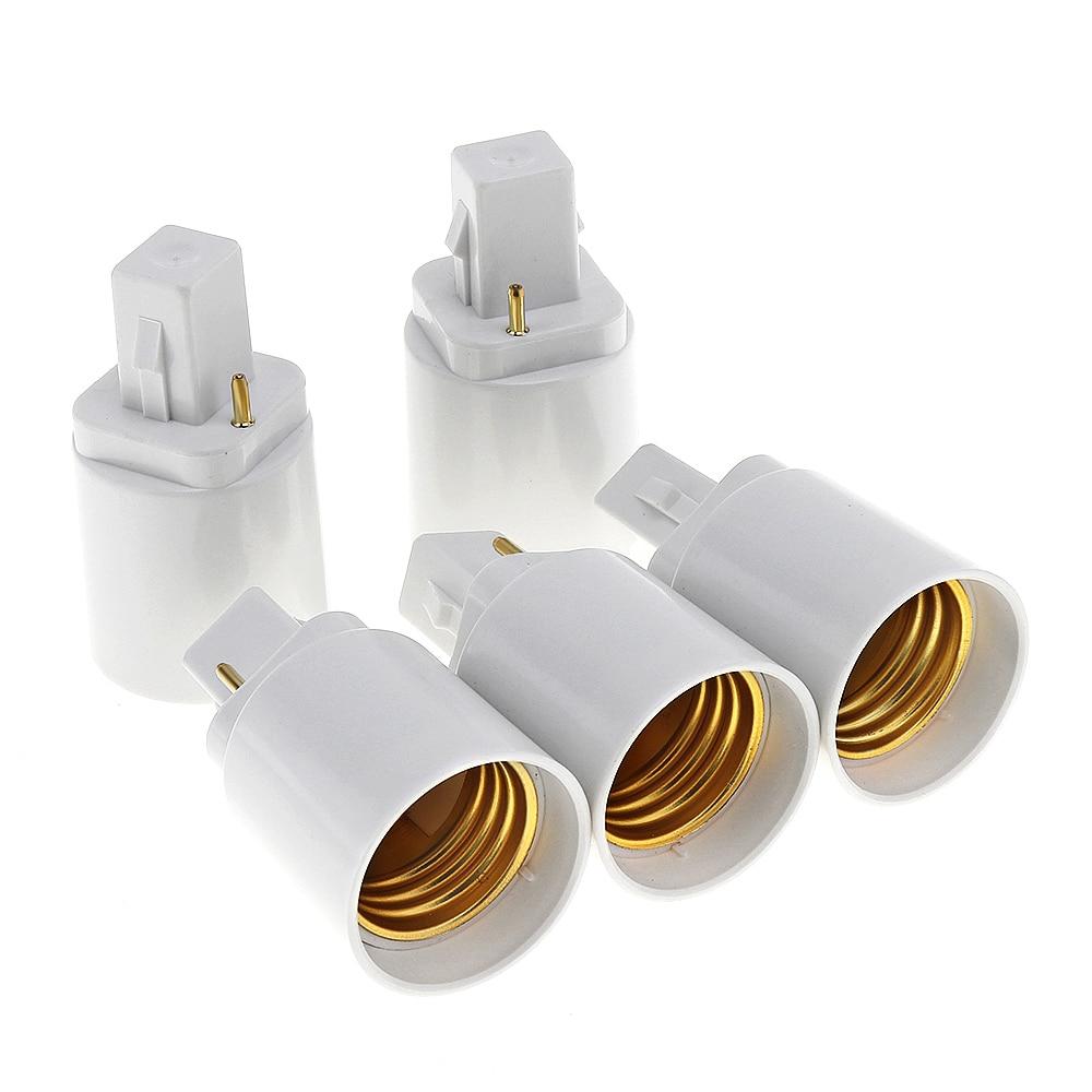 5X White ABS LED G24 To E27 Adapter Socket Halogen CFL Light Bulb Base Converter Adapter Lamp Bulb Holder 2pin 85-265V
