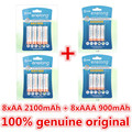 2 pacote/8 pcs enelong 1.2 v 2100 mah aa bateria recarregável e 2 pacote/8 pcs 900 mah recarregável aaa baterias