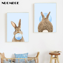 NUOMEGE Rabbit Bubble Gum Art Poster Prints Blue Nursery Wall Canvas Paintings Picture Baby Animals Boys Bedroom Decor