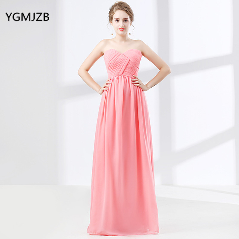 Long Chiffon Bridesmaid Dress Strapless Floor Length Blue Purple Red