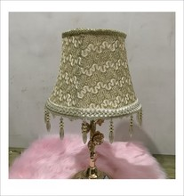 gold color with beeds deco Lamp shade for table lamp  Pattern lace Textile Fabrics Decorative
