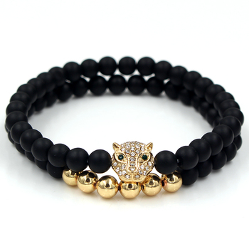 Fashion 2PCS/Set 6mm Black Matte Stone Copper Bead Bracelet Elastic Rope Bead CZ Ball,Leopard,Skull,Crown Bracelet For Men Women 3