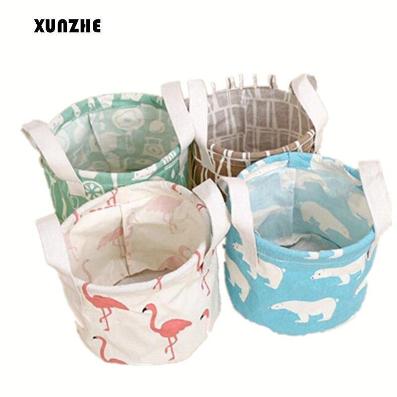 XUNZHE Baskets Foldable Dresser Desktop Makeup Organizer Cosmetics Container Cute Flamingos Cotton Linen Sundries Storage Box