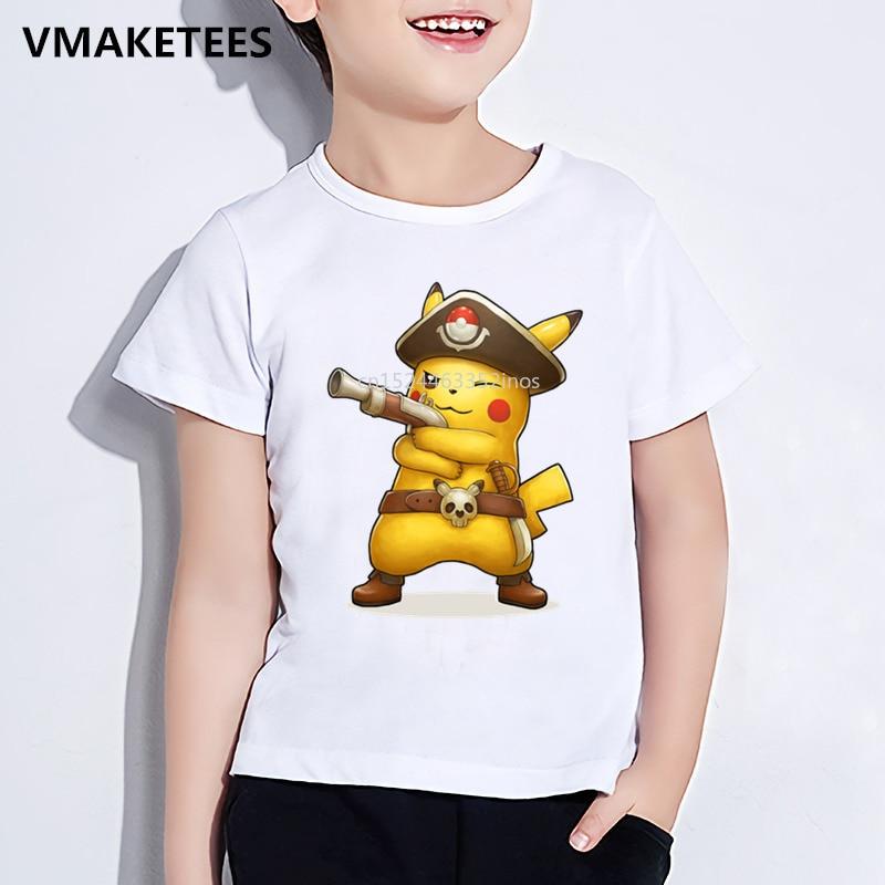 Los niños de verano de niñas y niños T camisa niños Cool capitán Pikachu de impresión de dibujos animados camiseta Anime Pokemon ropa de bebé divertido ¡ooo2295