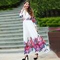 White Long Dress 2016 New Summer  Sexy V-neck Full Sleeve Flowers Print Elegant Floor Length Fashion Dress