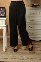 New Arrival Chinese Style Women Full Length Trousers Loose Casual Straight Linen Pants Black Mid Waist