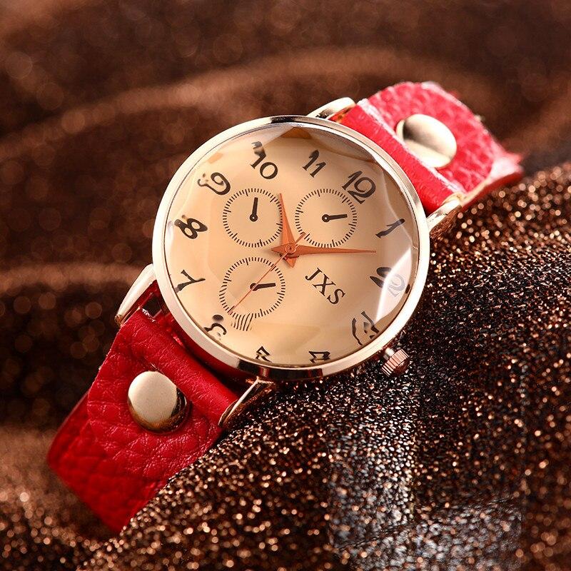 Women's Creative Arabic Numerals Watces Women Leather Strap Quartz Ladies Wrist Watches Fashion Casual Womens Clock Zegarek